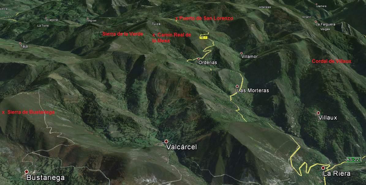 Mapa del valle de las Morteras