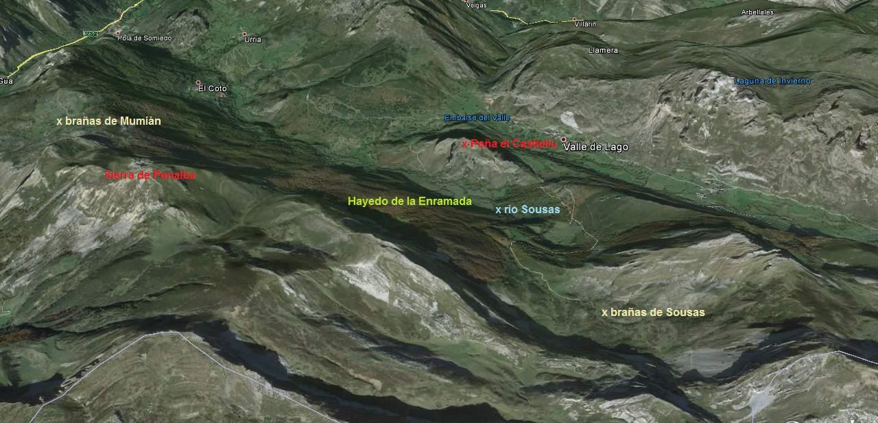 Mapa del valle de Sousas